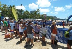 The scene at the swim finish line