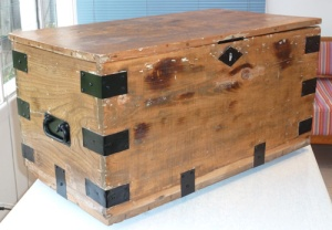 The fully-restored wooden chest