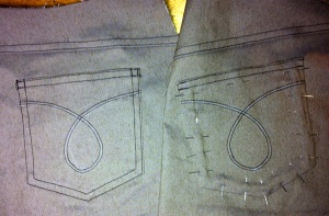 sewing on the back pockets