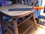 ready to trim dowel with dovetailsaw