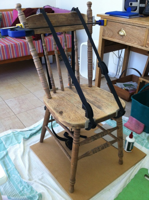 top half of chair glued and clamped