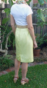 back view of yellow skirt