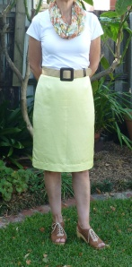 front view of yellow skirt