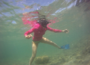 snorkelling in a rash vest in hawaii