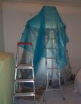 sanding prep work in loungeroom