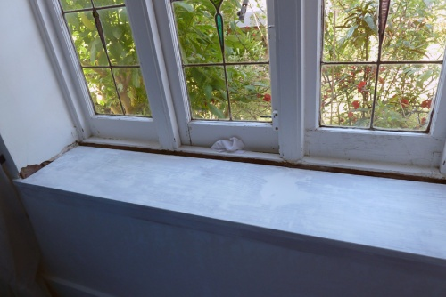 undercoat applied to ledge