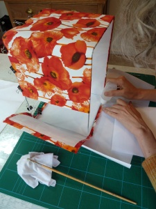 lampshade - glueing covering to frame