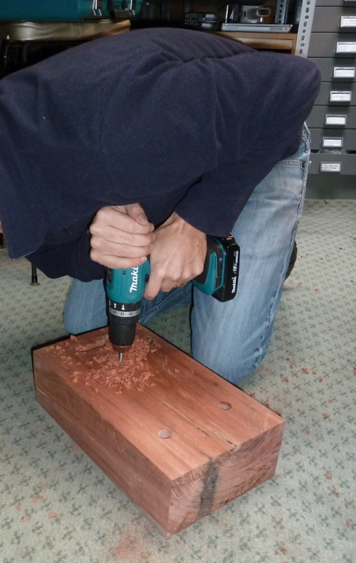 drilling the carriage bolt holes