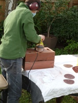sanding the blocks